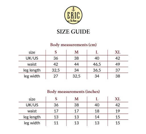 size guide shorts