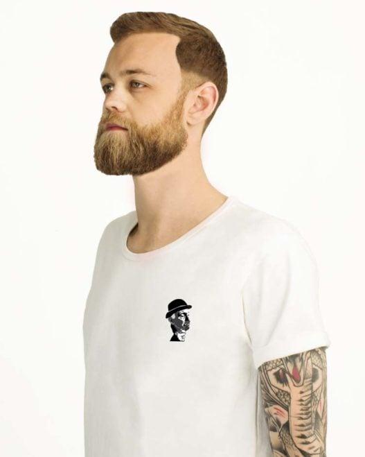 Hvid t-shirt med print til herrer